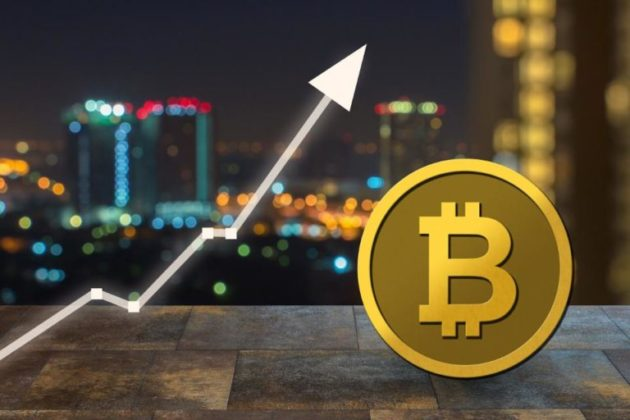 Bitcoin physical coin with sky line city in the background and white stock arrow facing upwards