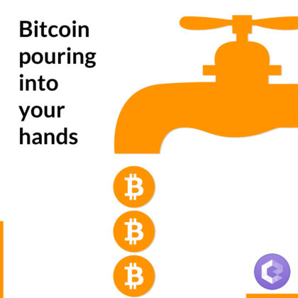 free bitcoin pouring from faucet into your hands