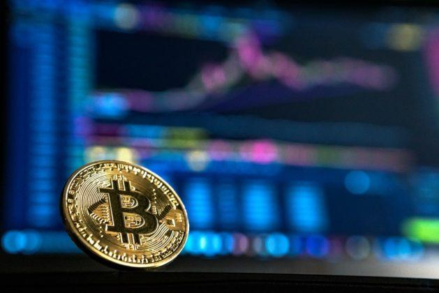 bitcoin with colourful backrgound