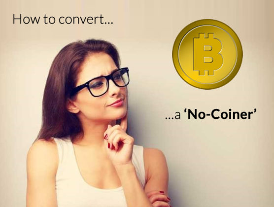 A woman thinking of how to get a skeptic friend to join the cryptocurrency revolution