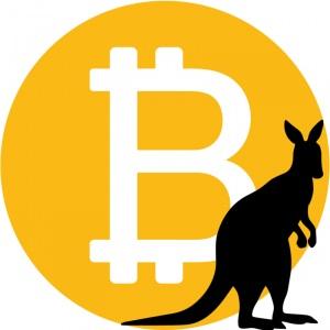 kangaroo with bitcoin logo background