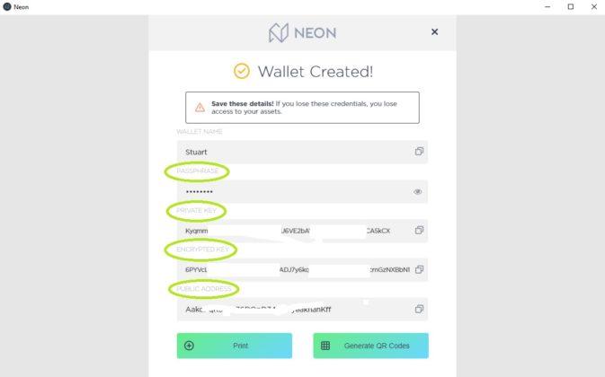 neon wallet creation