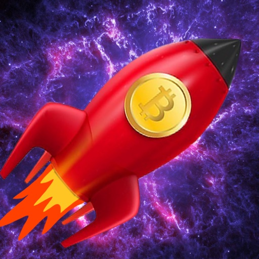 red rocket with bitcoin logo and space background