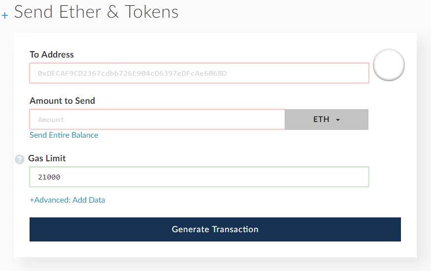 Send ether and tokens in etherwallet