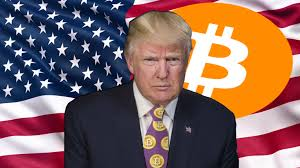 trump with bitcoin logo and usa flag background