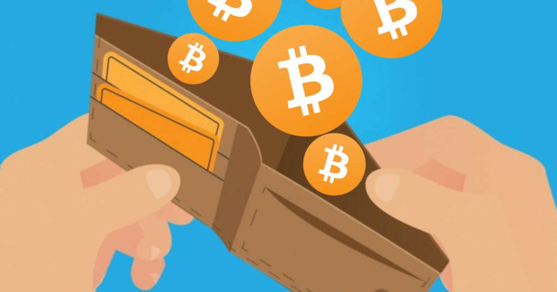 Bitcoin wallet Australia man holding wallet with BTC coins and card