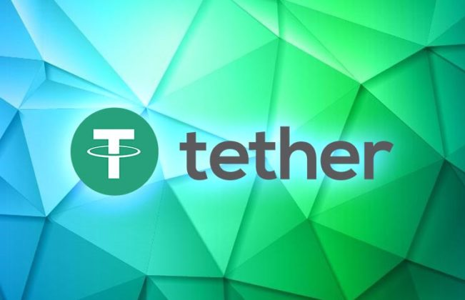 Tether Logo and Icon on green and blue digital back ground